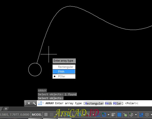 Langkah 2 Memperbanyak Objek Dengan Menggunakan Array Path di AutoCAD
