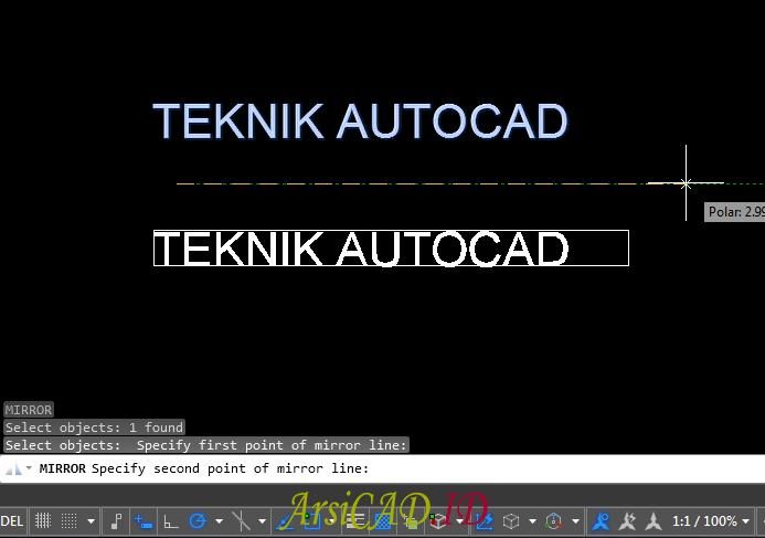 Contoh Kasus Membuat Efek Text Terbalik Seperti Cermin Di AutoCAD