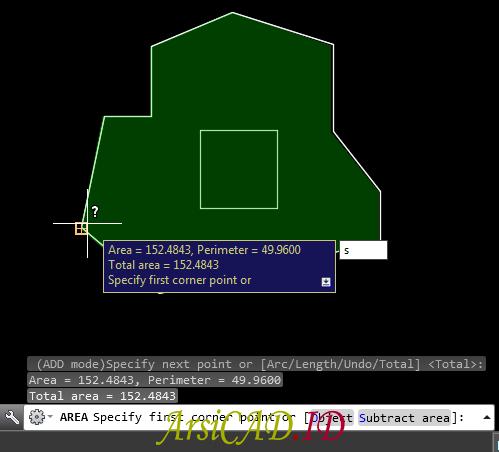 Menghitung Luas dan Keliling Bidang Area AutoCAD Objek Dengan Substraction