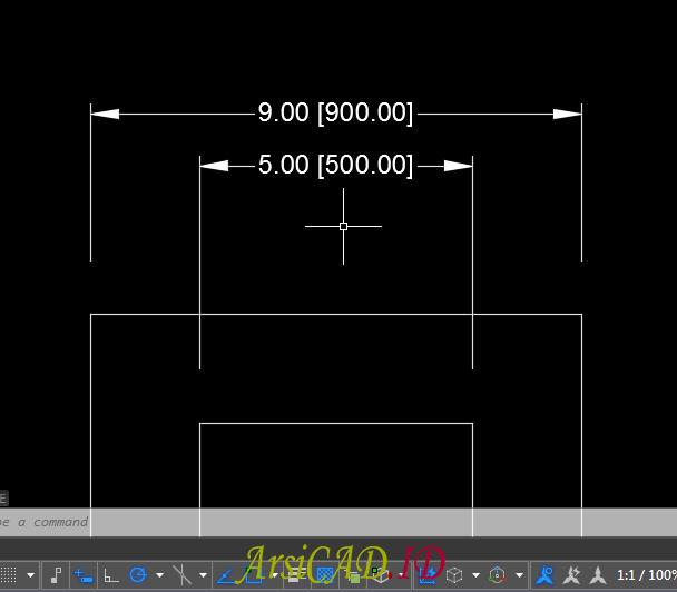 Langkah 6 Membuat Dimensi Ganda Dalam Satu Unit Dimensi Pada AutoCAD