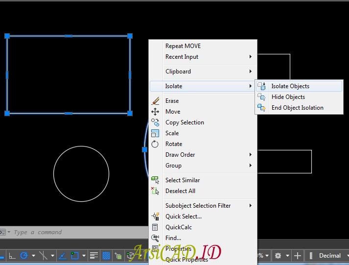 Langkah 2 Mengisolasi Objek Gambar AutoCAD Pada Layar Kerja
