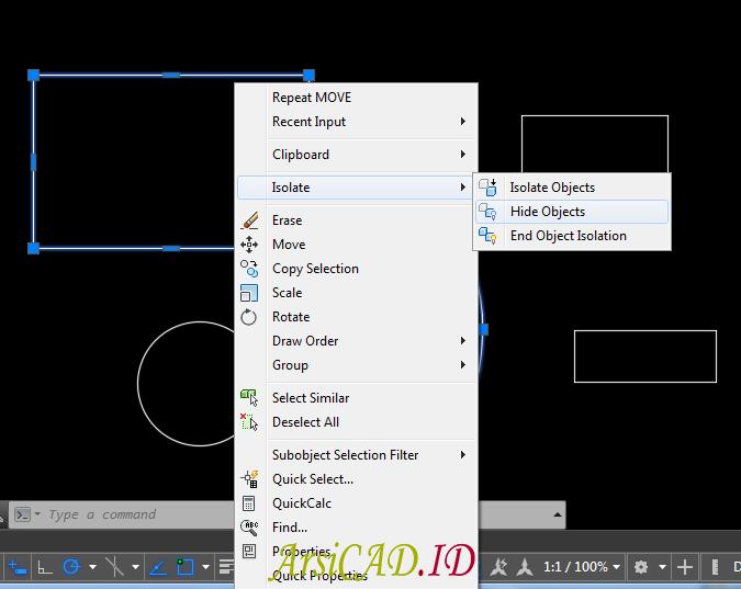 Langkah 2 Menyembunyikan Objek Gambar AutoCAD Pada Layar Kerja
