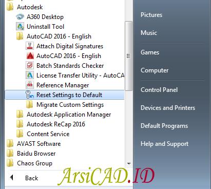 Langkah 3 Reset Setting AutoCAD ke Pengaturan Awal (Default) 2012 Keatas