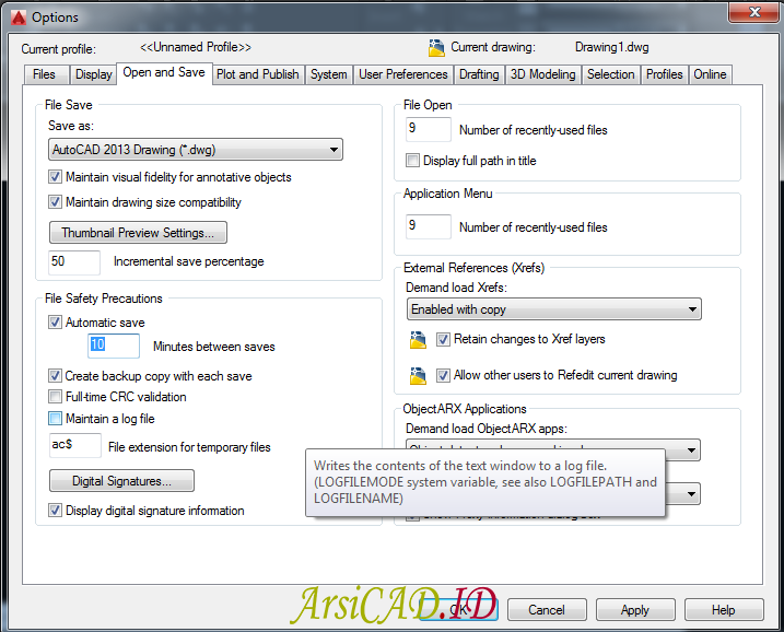 Langkah 3 Mengaktifkan dan Mematikan fungsi Save Otomatis Di AutoCAD