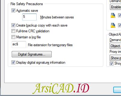 Langkah 4 Mengaktifkan dan Mematikan fungsi Save Otomatis Di AutoCAD