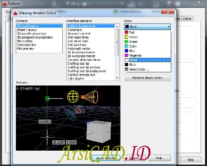 Langkah 3 Merubah Warna Background AutoCAD pada Lembar Kerja