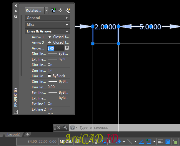 Langkah 2 Mengedit Text Dan Arrow Dimensi Style Dengan Cepat Di AutoCAD