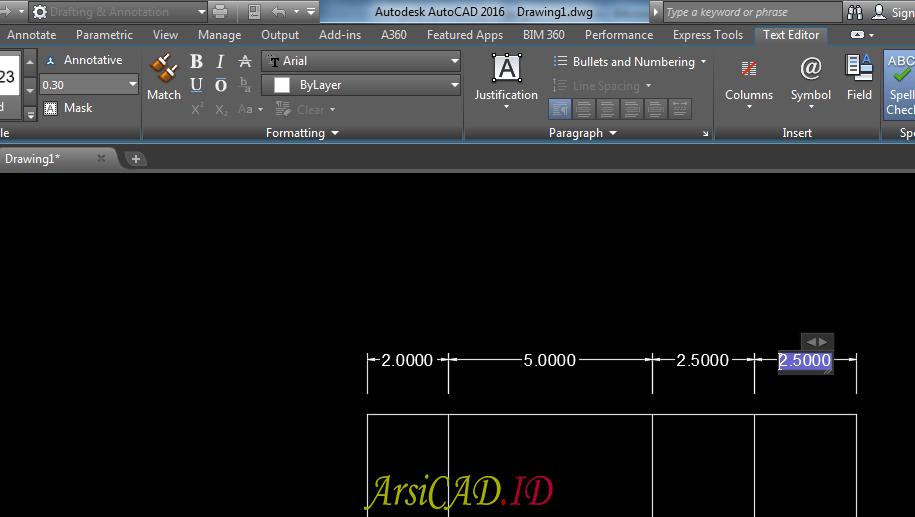 Contoh 1 Mengedit Text Dan Arrow Dimensi Style Dengan Cepat Di AutoCAD