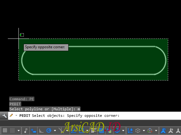 Langkah 3 Mengkonversi Multiple Objek Menjadi Single Polyline Di AutoCAD