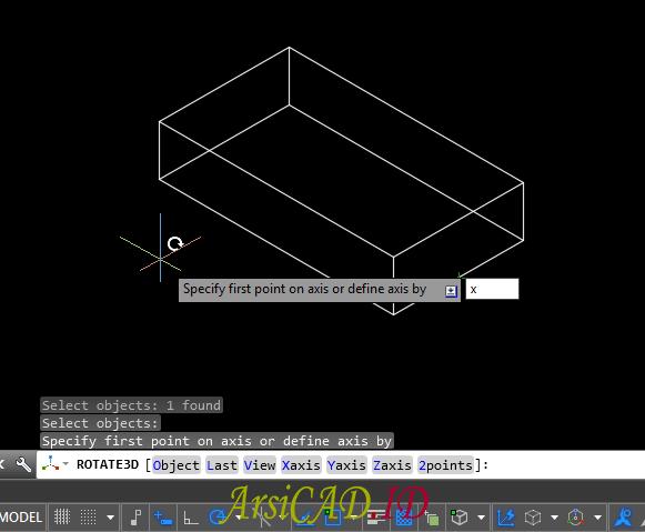Langkah 3 Merotasi Atau Memutar Objek 3D Di AutoCAD