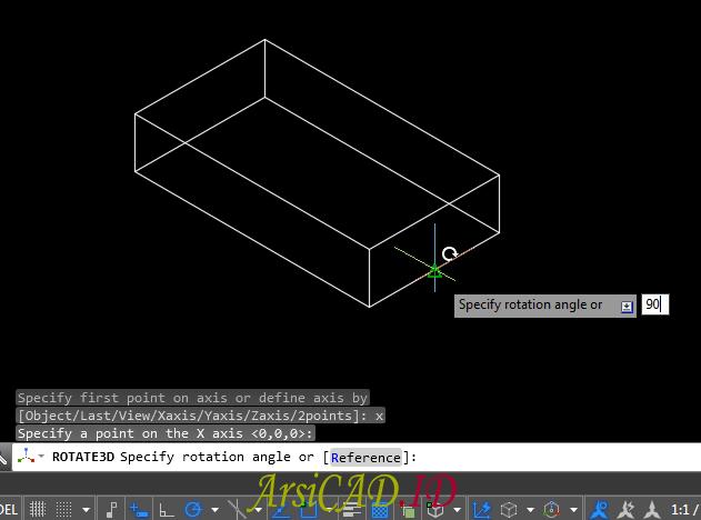 Langkah 5 Merotasi Atau Memutar Objek 3D Di AutoCAD