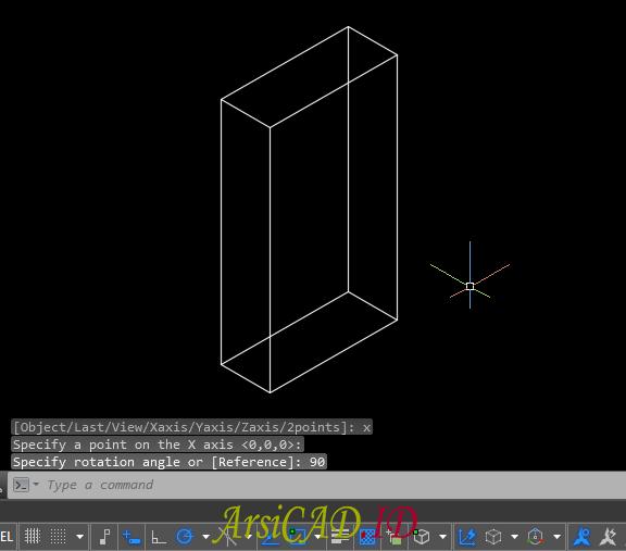Hasil Akhir Merotasi Atau Memutar Objek 3D Di AutoCAD