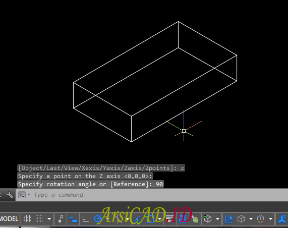 Catatan 2 Merotasi Atau Memutar Objek 3D Di AutoCAD