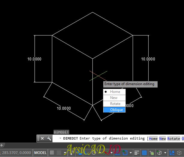 Langkah 2 Membuat Dimensi Isometric Pada Drafting 2D AutoCAD