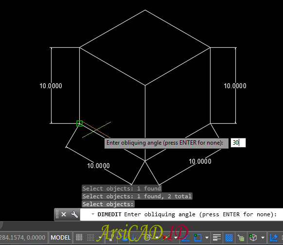 Langkah 4 Membuat Dimensi Isometric Pada Drafting 2D AutoCAD