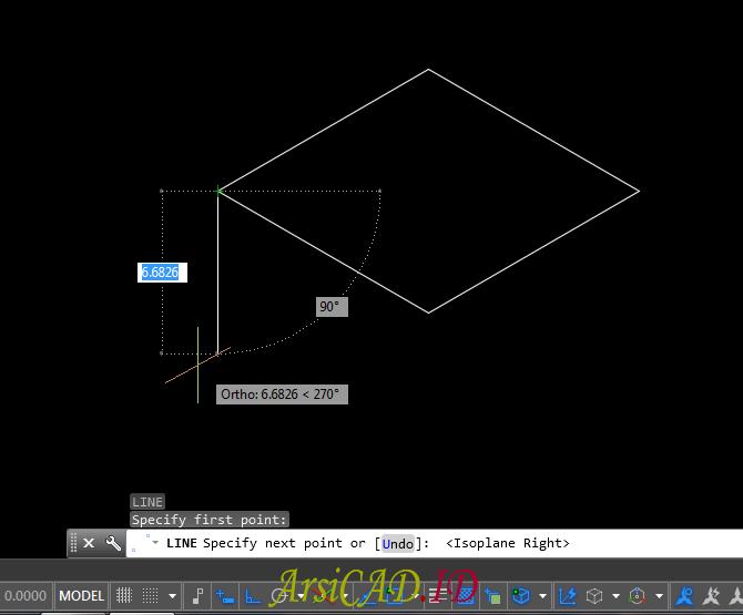 Tampilan Setelah Langkah 6 Membuat Gambar Isometric Di AutoCAD