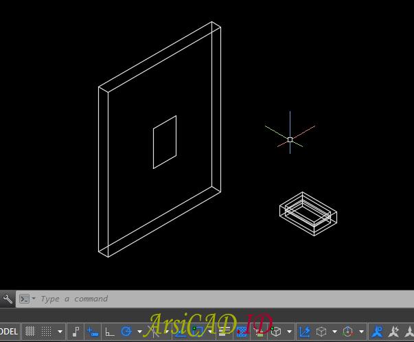 Langkah 2 Membuat Pelubangan Pada Objek 3D Di AutoCAD