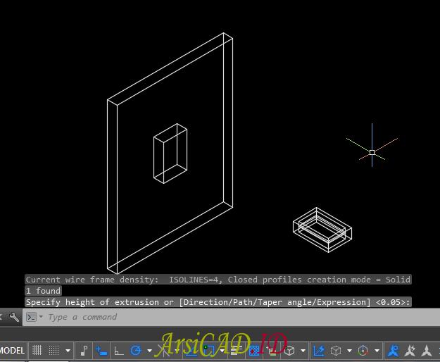Langkah 5 Membuat Pelubangan Pada Objek 3D Di AutoCAD