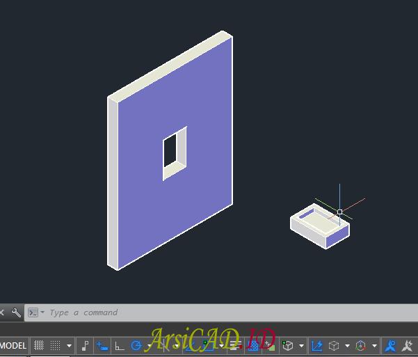 Langkah 7 Membuat Pelubangan Pada Objek 3D Di AutoCAD