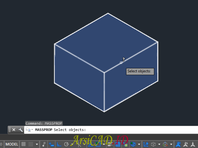 Langkah 2 Menghitung Massa dan Volume Objek 3D Di AutoCAD