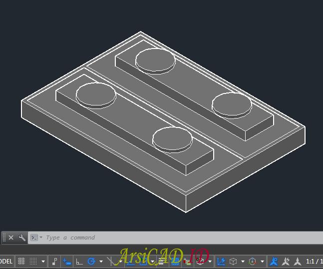 Contoh Kasus Membuat Gambar 2D Dari Objek 3D Di AutoCAD