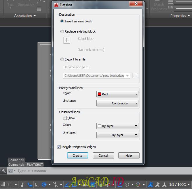 Langkah 3 Membuat Gambar 2D Dari Objek 3D Di AutoCAD