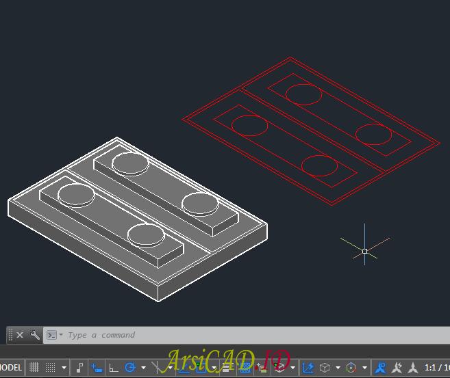 Hasil Akhir Membuat Gambar 2D Dari Objek 3D Di AutoCAD