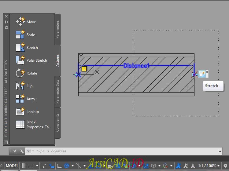 Langkah 11 Membuat Dynamic Block Dengan Parameter Linear dan Action Stretch