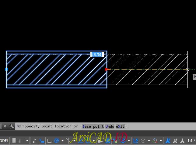 Gambar Hasil Memanjangkan Membuat Dynamic Block Dengan Parameter Linear dan Action Stretch