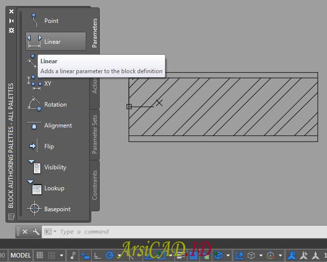 Langkah 4 Membuat Dynamic Block Dengan Parameter Linear dan Action Stretch