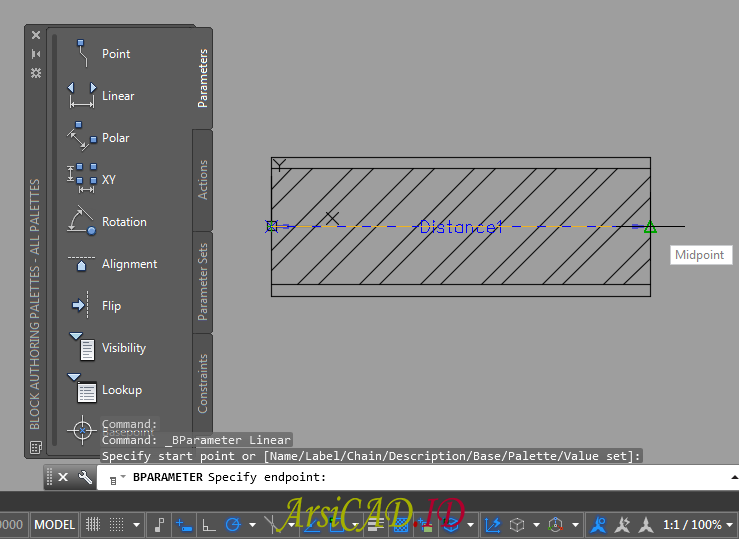 Langkah 5 Membuat Dynamic Block Dengan Parameter Linear dan Action Stretch