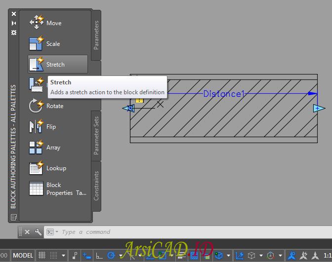 Langkah 6 Membuat Dynamic Block Dengan Parameter Linear dan Action Stretch