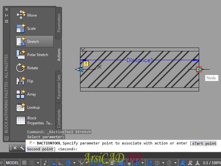Langkah 8 Membuat Dynamic Block Dengan Parameter Linear dan Action Stretch