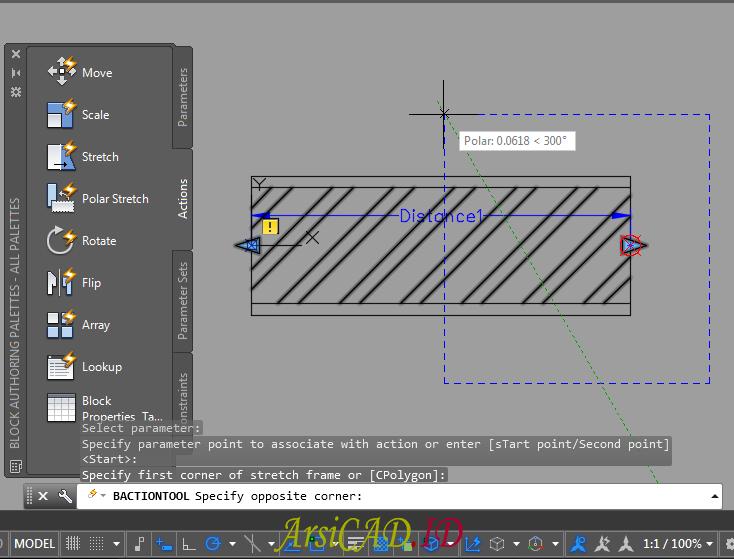 Langkah 9 Membuat Dynamic Block Dengan Parameter Linear dan Action Stretch