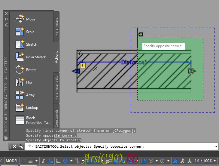 Langkah 10 Membuat Dynamic Block Dengan Parameter Linear dan Action Stretch