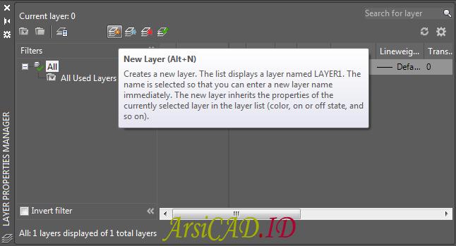 Langkah 2 Membuat Layer Untuk Gambar Kerja di AutoCAD