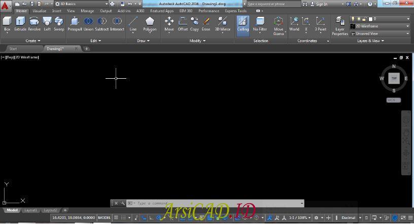 Tampilan 3D Basic Workspace Pada AutoCAD
