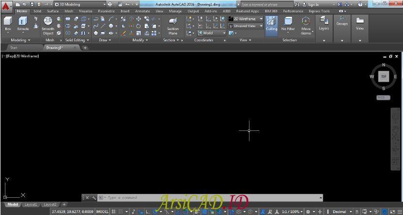 Tampilan 3D Modeling Workspace Pada AutoCAD