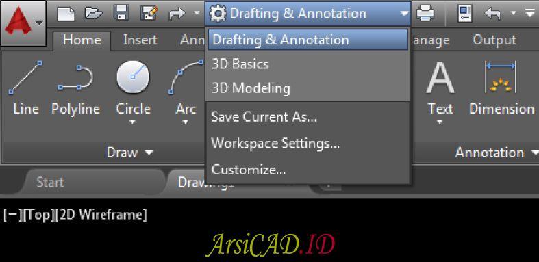 Daftar Workspace AutoCAD Yang Dapat Digunakan Langsung