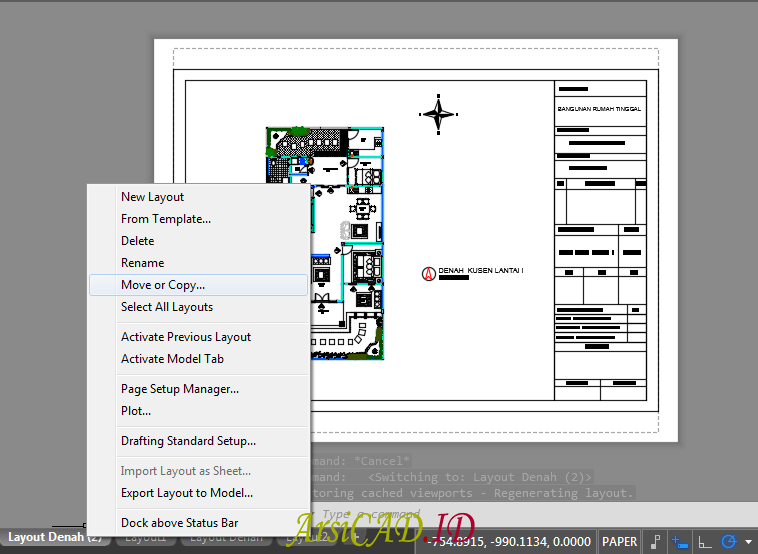 Mengcopy duplikat Layout Agar dapat Print di AutoCAD Sekaligus Banyak