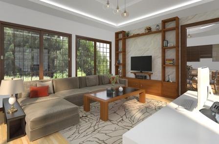 Ilustrasi gambar furniture rumah di ruang keluarga