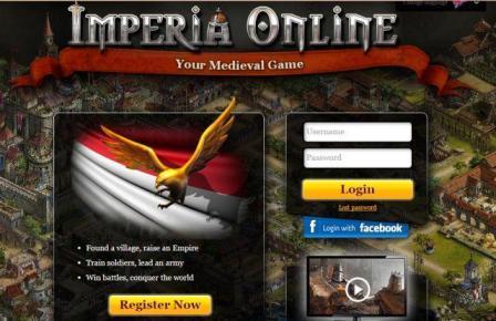 Tampilan Homepage Game Membangun Imperia Online