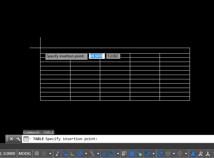 Hasil Langkah 6 Membuat Tabel di AutoCAD