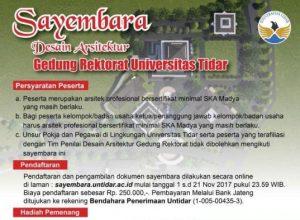 Info Sayembara Arsitektur Untidar Dengan Judul Desain Arsitektur Gedung Rektorat Universitas Tidar