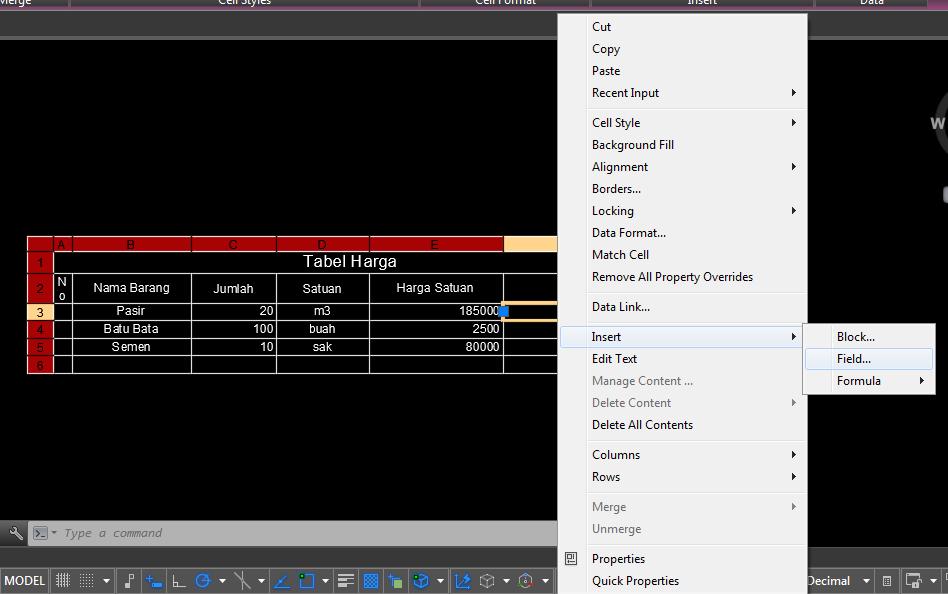 Hasil Langkah 2 Memasukan Rumus Excel Pada Tabel AutoCAD